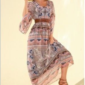 Boston Proper Paisley boho/bell sleeve Maxi Dress